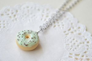 Food Jewelry : Mint Chocolate Chip Donut Necklace by Unicharms