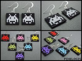 Space Invader Earrings by Pixelosis