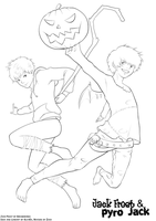 Jack Brothers: Jack Frost and Pyro Jack [Lineart] by KujaEx