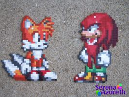 Tails and Knuckles Bead Sprite by SerenaAzureth