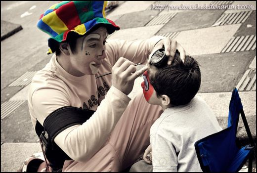 Clown and the boy by PandaWicked