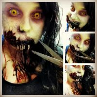 Evil Dead 2013 make-up last night for the release. by Kabuki-Bunny