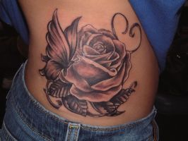 butterfly and rose by tattooistgus