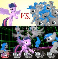TWILIGHT SPARKLE (vs) FIGHTING PONY TEAM by Pika-Robo