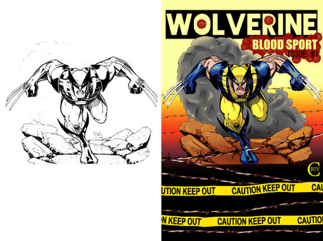 Wolverine BLOODSPORT B4 and After Color by criv215