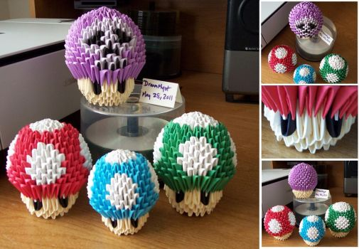 Mushroom Kingdom - 3D Origami by o0DreamMyst0o