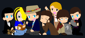 me and the Doctors chibis 8D by Irish-Werepire-Grl