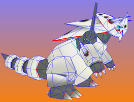 Mega Aggron papercraft model done by javierini