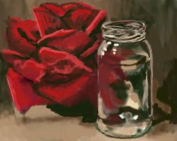 Impressionistic Digital View of a Silk Rose WIP by Larainjp