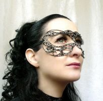 Black and silver masquerade mask by gringrimaceandsqueak