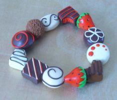 Strawberry Chocolate Bracelet by PORGEcreations