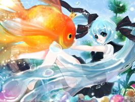 Fanart - Bottle Miku with King Goldfish by TashaChan
