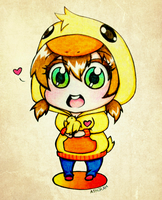 Chibi -Duck- Girl with A Chick by IraDiotic