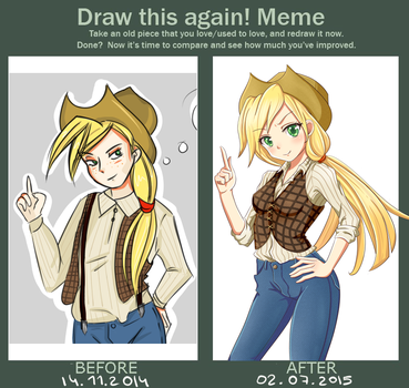 Draw this again! Meme. Applejack from MLP by 0les-x