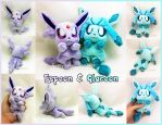 Espeon and Glaceon Micro Palm-sized Plushies by TheHarley