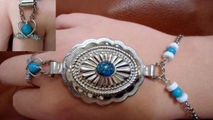 turquoise bracelet with ring by RaheHeul