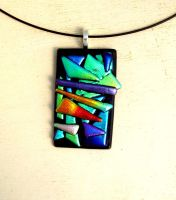 Geometric Fused Glass Pendant Necklace by FusedElegance