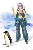 Penguin with chick by CamT