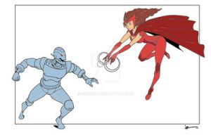 Scarlet Witch Vs Ultron 1 by singory