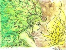 Creation - A Forest Nymph and A Sequoia Buddling by izenhime