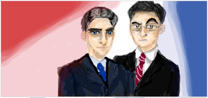 Stewart and Colbert by cellytron