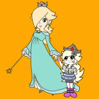 Art Request: Hana and Rosalina by foxgirlKira