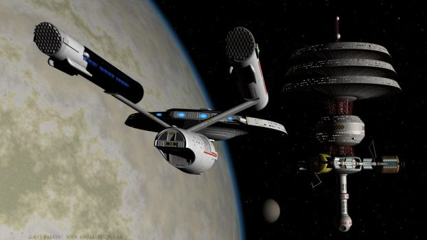 USS Daring approaches Kelway Station by Jim197