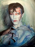 David Bowie, Ashes to Ashes/ watercolor. by Phoenix-tails9