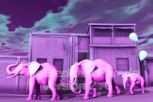 Pink Elephant Parade Version 2 by 3dConnect