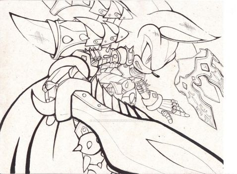 Fall of King Lancelot -Line art- by AbrilTheMareep