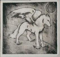 Winged wolf print by storywriter519