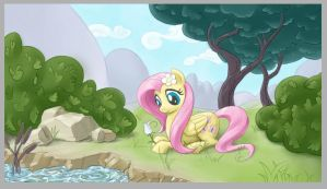 Fluttershy with flower WIP by GiantMosquito