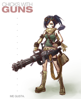 MiniGun Chick by NickBeja