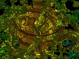 Raytraced Mandelbox Fractal 3 by mcsoftware