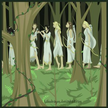 Elves in the Green by Kabudragon