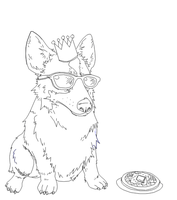 King Corgi Cool has a Waffle by b-dangerous