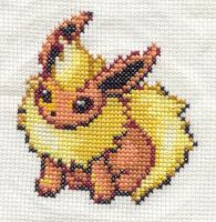 Flareon cross stitch by Awenmir