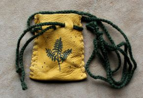 Fern-painted Deerskin Necklace Pouch by lupagreenwolf