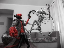 ALIEN vs HELLBOY in wire by TheWallProducciones