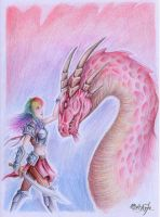 Girl and Dragon. by 0Galath0