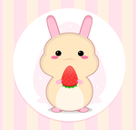 Kawaii : Rabbit with strawberry by Citronade-Arts