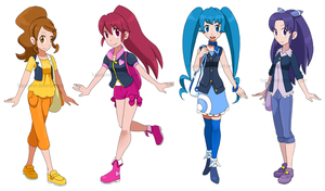 Happiness Charge Precure! as Pokemon trainers by Hapuriainen
