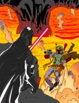 Boba Fett vs Darth Vader by Amish56