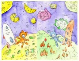 Cat, bunny and space by jkBunny
