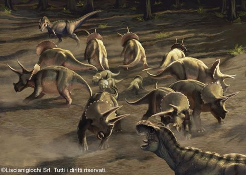 Herd of Triceratops defending their youngs by Akeiron