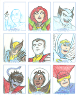 x-men sketch cards by AlanSchell