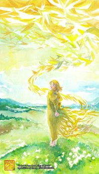 Yellow Dress And A Sky Of Birds by maiji