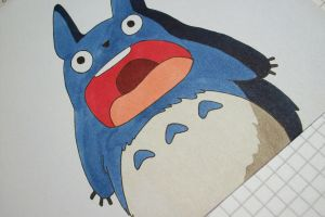 Tegami Art No.25 .:Blue Totoro:. by SakakiTheMastermind
