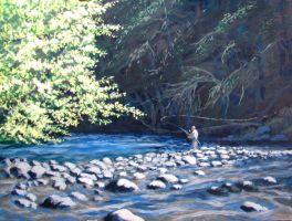 Morning Cast, North Santiam by Caddisman