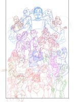 WIP - All Character group piece by funkyalien